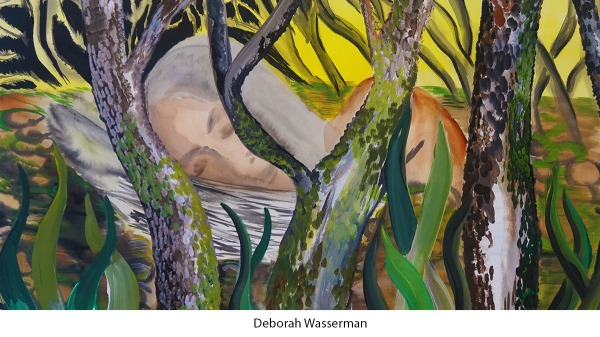 paiting of woman sleeping in forest